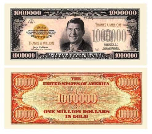 SET OF 10 BILLS-THANKS A MILLION (REAGAN) DOLLAR BILL by Novelties Wholesale