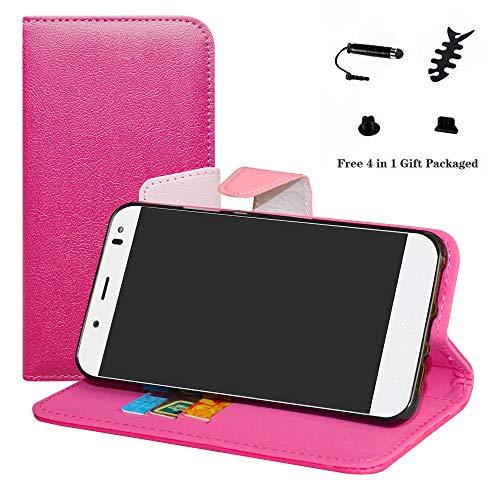 LFDZ BQ Aquaris VS Plus Hülle, [Standfunktion] [Kartenfächern] PU-Leder Schutzhülle Brieftasche Handyhülle für BQ Aquaris VS Plus/Aquaris V Plus Smartphone (mit 4in1 Geschenk Verpackt),Pink