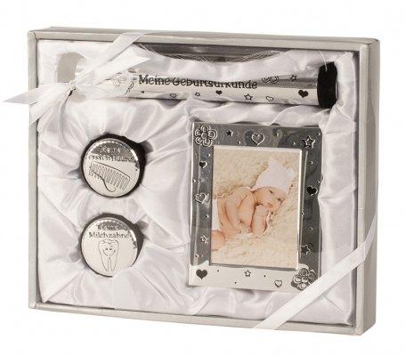Geschenkset zur Geburt, Taufe Baby Geburtsurkunde Bilderrahmen Michzahndose Haardose | silber