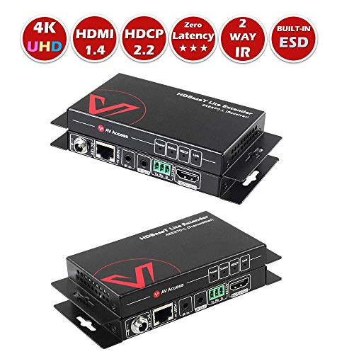 Hdmi Extender Over Single (HDMI Extender HDBaseT Two-Way PoE & IR, Uncompressed 4Kx2K@60Hz Over Single CAT5e / 6 / 7, HDR & Dobly Vision+HDCP2.2+RS232, 70M 1080P, 40M 4K, Dolby Atmos & DTS:X, CEC)