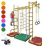 NiroSport FitTop M3 Sprossenwand für Kinder Indoor Klettergerüst für Kinderzimmer Kletterwand, TÜV geprüft, kinderleichte Montage, Made in Germany (Raumhöhe 2,2-2,7 m mit Holzsprossen, Blau)