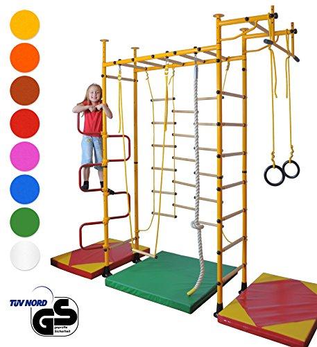 NiroSport FitTop M3 Sprossenwand für Kinder Indoor Klettergerüst für Kinderzimmer Kletterwand, TÜV geprüft, kinderleichte Montage, Made in Germany (Raumhöhe 2,0-2,5 m mit Holzsprossen, Grün)