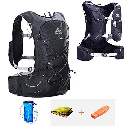 CLCYL Hydration Pack Rucksack, Wasserbeutel Rucksack, 12 Taschen Marathon Vest Water Bag 15L Wasserdicht geeignet für Fitness Running Klettern Camping Ski Bike Wandern,Black