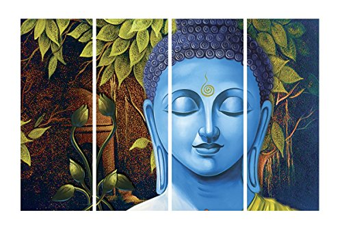 SAF Premium Buddha Print 4 Panel Ink Painting (Synthetic, 60 cm x...