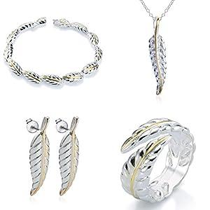 Elegance Parisienne Modisches Schmuck-Set Feder | Sterling-Silber 925 Plattiert | Halskette Ring Armband Ohrringe | Für Damen Frauen Mädchen Teenager | Glücksbringer