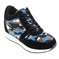 CALTO - H2243-3.2 Inches Taller - Size 9 UK - Height Increasing Elevator Shoes - Camo Black/Blue Canvas Fashion Sneakers