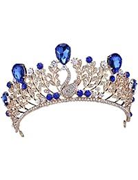 Santfe Azul Hoja de Cristal Tiara Corona Cabello joyería Rhinestone boda Pageant de novia diadema
