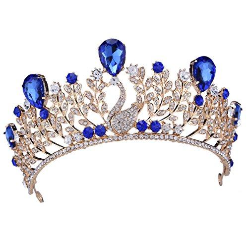 santfe blau Kristall Leaf Tiara Kronen Haar Schmuck Strass Hochzeit Festzug Braut Haarband -