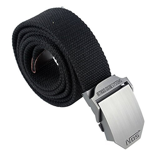 SODIAL(R) Men Extra Long Army Zip Canvas Belt with Slider Buckle
