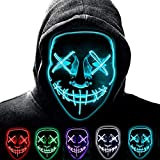 SunRlity Máscara de Halloween LED Enciende la máscara de Purga para el Festival Cosplay Disfraz de Halloween (Ice Blue)
