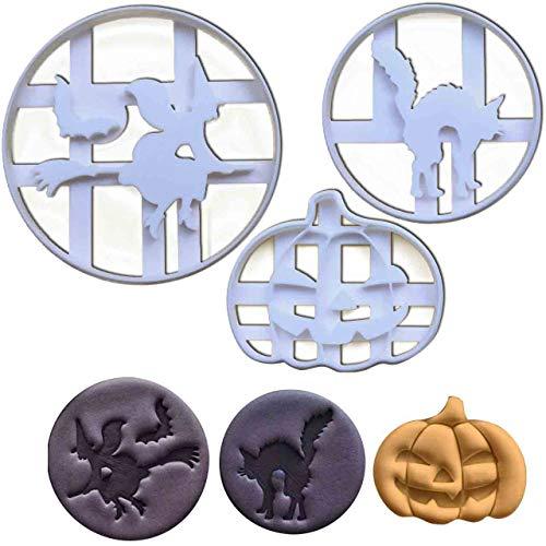 Bakerlogy 3er Set Halloween Ausstechformen (Formen: Kürbis, Halloween-Hexe und Halloween-Katze), 3 Teile