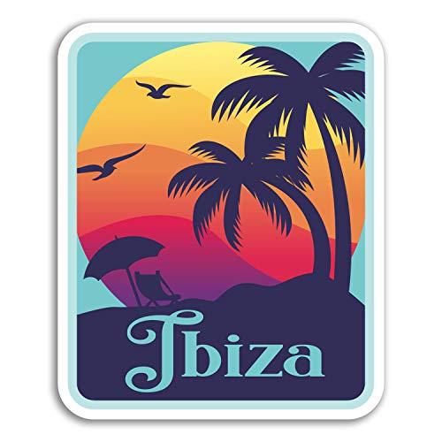 DestinationVinyl 2 x 10cm Ibiza Vinyl-Aufkleber - Sonnenuntergang Coole Reise-Aufkleber Laptop Gepäck # 18187 (10 cm groß) -