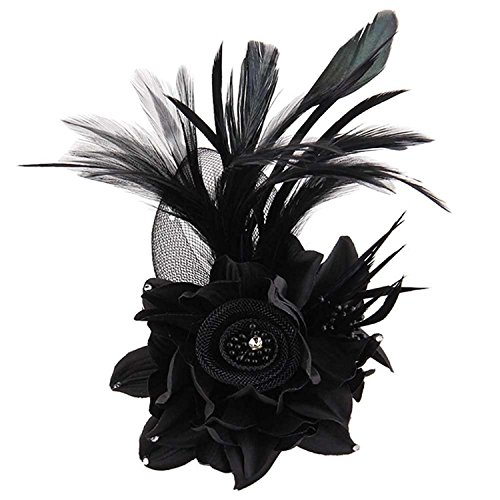h Feder Haar Clip Frauen Mädchen Haarspange Cocktail Party Flower Haarspange Fascinator Hat (Schwarz Feder Haar Clip)