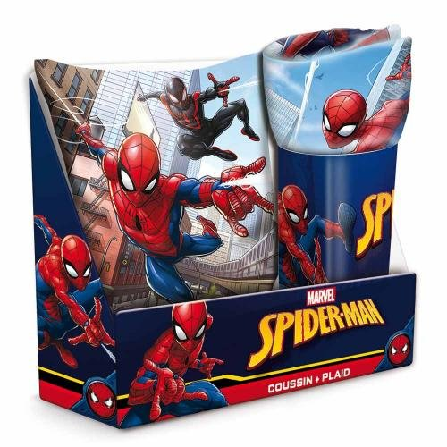 Spider-Man- Set Regalo, Cojín y Manta de Spiderman, (Suncity SUE-LQ5001)