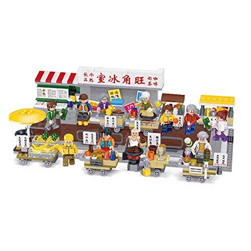 Yyz Stadt-Reihen-Bausteine   Hong Kong-Imbiss-Straßen-Ställe-Straßen-Ansicht-Puzzlespiel, das die Szenen-Geburtstags-Geschenke der vorbildlichen Kinder zusammenbaut