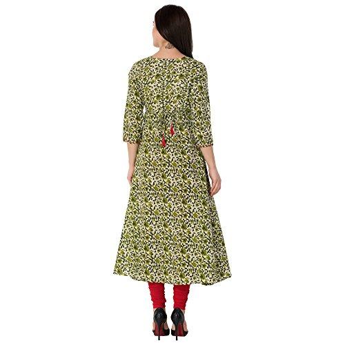 Gulmohar Jaipur Women's Cotton A-line Kurti (Green)