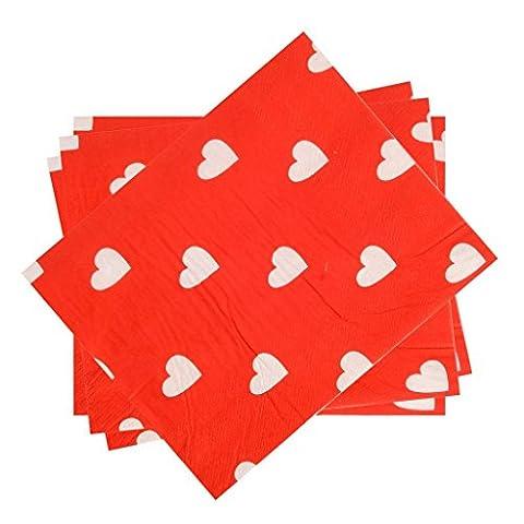 kraftz®–2x 20Stück Papier-Servietten mit Love Herz Design für Geburtstag Party Deko Geschirr Events Festivals Hochzeiten Serviette