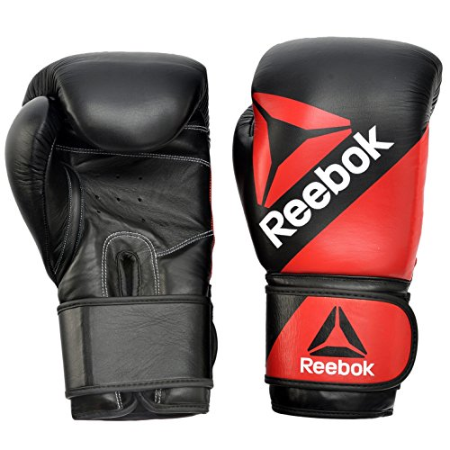 Reebok Training, Combat Leather Guanti Unisex-Adulto, 10oz Rosso/Nero, Unica
