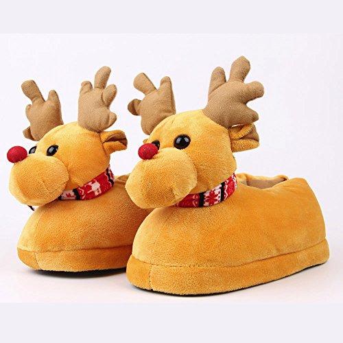 LoveLeiter Unisex Plüsch Baumwolle lustige Haus Hausschuhe Winter Warm Indoor Weihnachten Hausschuhe Schuhe Kindergeschenk Weihnachten Mädchen Junge Kreatives Geschenk Neuheit (Gelb,L)