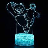 Vitila Kung Fu Panda 3D Led Illusion Light Night Light Lampada Da Comodino Colorato Cambia Regalo Creativo, Base Crepa: Tocco Colorato