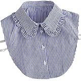 goneryisour Fashion Stripe Denim Lace Camisa con cuello Falso Cuello Lazo Vintage Desmontable Cuello Falso Blusa de la solapa Top Mujer Ropa Accesorios