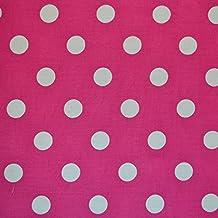 Cerise Rosa y Blanco Estampado De Lunares Tela–1x retales