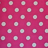Cerise Pink und Weiß Polka Dots Print Baumwolle