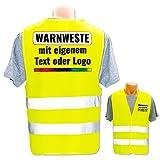 Personalisierte Warnweste selbst gestalten mit eigenem Aufdruck * Bedruckt mit Name Text Bild Logo Firma, Farbe & Größe:Gelb/Größe S (Kinder), Position & Druckart:Rücken + Front/Premium-Druck