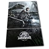 Bold Bloc Design - Jurassic World Poster Movie Greats 150x100cm TREBLE Tela Art Print Box incorniciato appeso a parete foto - mano Made In UK - incorniciato e pronto da appendere - Canvas Art Print