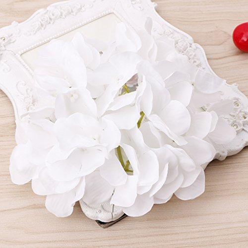 Fogun 1 Stück Künstliche Hortensie Gefälschte Blume für Braut Hochzeit Dekoration (Weiß)