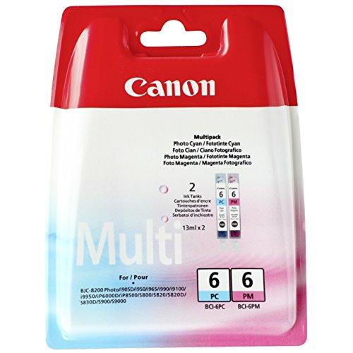 Canon BCI-6 PC/PM Original Tintenpatronen, Multipack je 15ml foto-cyan, foto-magenta