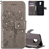 HMTECH Huawei Mate 20 Lite Hülle Glitzer Wish Tree Blumen Flip Standfunktion Karten Slot Magnetverschluß Brieftasche Taschen