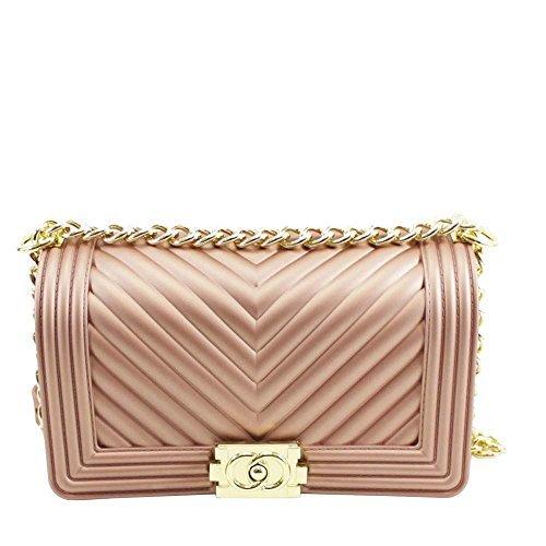 Haute für Diva S neu gestepptes Design Goldkette Damen Mode GUMMI Schulter Handtasche - Rot, Medium Gold