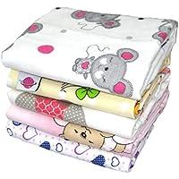 Babymajawelt - Copertine in soffice flanella per bebè, specifiche per femminucce, 70 x 80 cm, 5 pezzi - Flanella Bambino Coperte