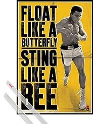 Póster + Soporte: Muhammad Ali Póster (91x61 cm) Vuelo Como Una Mariposa Y Pico Como Una Abeja Y 1 Lote De 2 Varillas Transparentes 1art1®