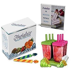 Freshelato - EIS am Stiel/Wassereisformen Set (6 x 70ml) + 2 x Silikon EIS Pop Form + Trichter + Bürste + Rezeptbuch (Ebook auf Deutsch)