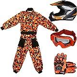 Leopard LEO-X19 Naranja Casco de Motocross para Niños (XL 55cm) + Gafas + Guantes (XL 8cm) + Camo Traje de Motocross para Niños - L (9-10 Años)