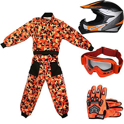 Leopard LEO-X19 Casco da Motocross per Bambini off-Road + Occhiali + Guanti + Tuta da Motocross per Bambini | Completo da Uomo XXL (12-13 Anni) + Casco&Guanti S - Arancia