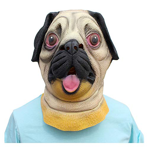 YaPin Neuheit Halloween Latex Tier Mops Hund Maske Kostümparty