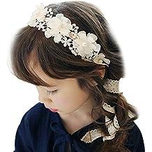 Butterme Ragazze dei bambini merletto dolce del nastro fascia del fiore con  la perla di Faux f9a6b87d782d