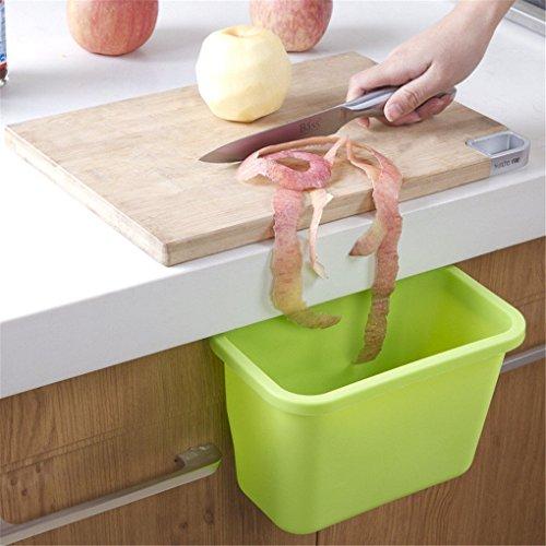 House of Quirk Kitchen Cupboard Drawer Cabinet Storage Box Hanging Trash Bin Garbage Holder - Green