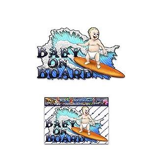 Baby an Bord lustige Kinder Surf Kindergarten Auto Aufkleber Aufkleber - ST00001_SML - JAS Aufkleber