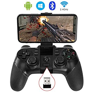 allcaca Bluetooth Game Controller Wireless Gamepad Rechargeable Phone Controller, Compatible with Android Phone, Tablet, TV, TV Box, Black (Not for ios devices)