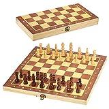 G-Tree Holz-Schach-Set - Klassisches bewegliches Brettspiel mit Faltplatte Innen für Lagerung, Reisespiel für Erwachsene & Kinder, 29 x 29 cm