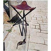 CAZA Y AVENTURA Silla para Cazar, asiento en cuero de 60 cm