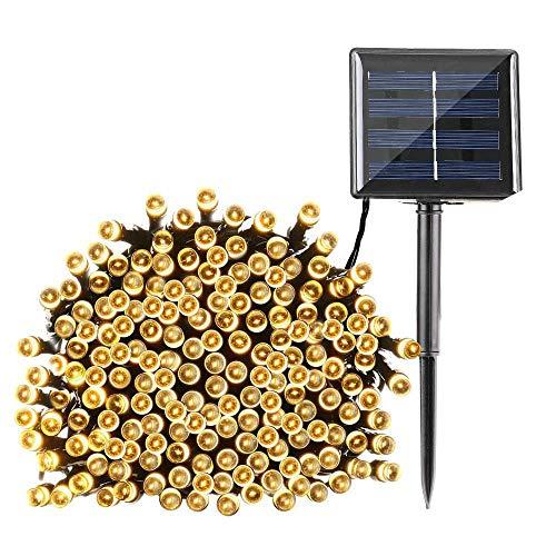 Qedertek Solar Lichterkette Weihnachtsbeleuchtung außen, 20M 200 LED Solar Lichterkette Aussen Wasserdichte, 8 Modi Solar Weihnachtsbaum Lichterkette Deko für Garten, Terrasse, Hochzeit (Warmweiß)