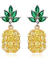 Lureme Mignonne CZ Pierre Pineapple Collier boucles d'oreilles for Women and Filles (nl005630)