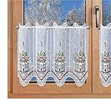 SeGaTeX home fashion Weihnachts-Scheibengardine Laterne Wintergardine Plauener Stickerei