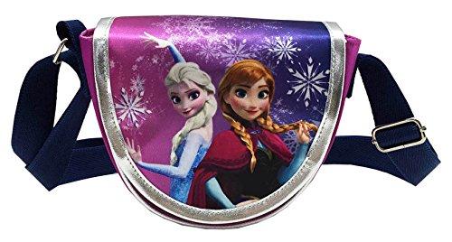 La reine des neiges - Sac bandoulière à rabat demi-lune Reine des neiges, Elsa et Anna avec des flocons pailletés