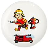 Unbekannt großer Teller - Kinderteller -  Feuerwehr - Feuerwehrmann & Feuerwehrauto  - Ø 21 cm - aus Porzellan / Keramik - Speiseteller / Frühstücksteller / Eßteller ..